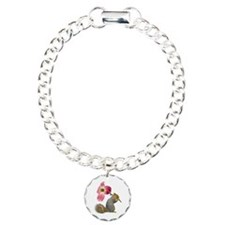Squirrel Pink Flower Charm Bracelet, One Charm
