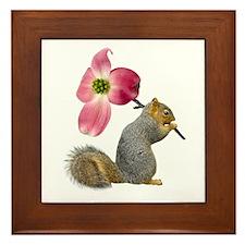 Squirrel Pink Flower Framed Tile