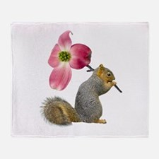Squirrel Pink Flower Throw Blanket