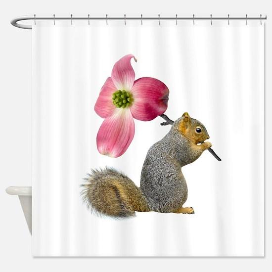 Squirrel Pink Flower Shower Curtain