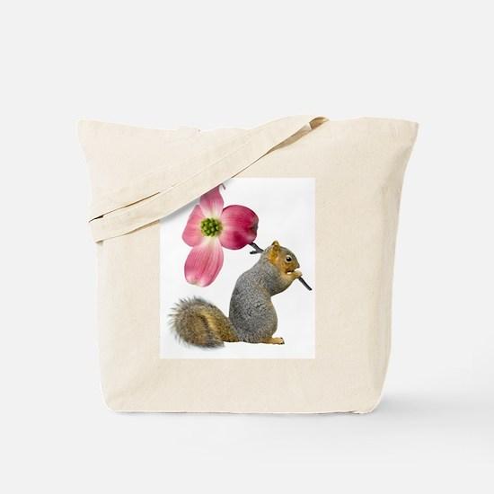 Squirrel Pink Flower Tote Bag