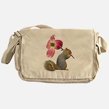 Squirrel Pink Flower Messenger Bag