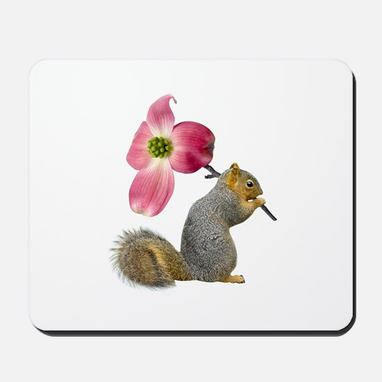 Squirrel Pink Flower Mousepad