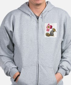 Squirrel Pink Flower Zip Hoodie