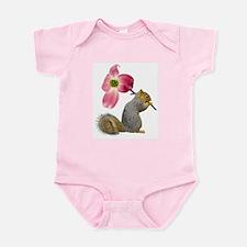 Squirrel Pink Flower Infant Bodysuit