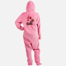 Squirrel Pink Flower Footed Pajamas