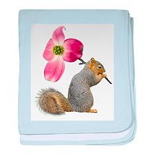 Squirrel Pink Flower baby blanket