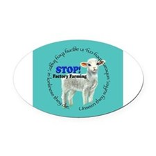 Cute Peta Oval Car Magnet