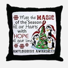 Christmas Penguins Amyloidosis Throw Pillow
