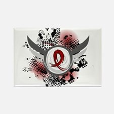 Grunge Ribbon Wings Amyloidosis Rectangle Magnet