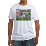 Lilies2-Bull Terrier (P) Fitted T-Shirt