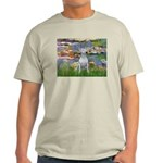Lilies2-Bull Terrier (P) Light T-Shirt