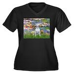 Lilies2-Bull Women's Plus Size V-Neck Dark T-Shirt