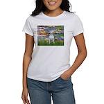 Lilies2-Bull Terrier (P) Women's T-Shirt