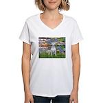 Lilies2-Bull Terrier (P) Women's V-Neck T-Shirt