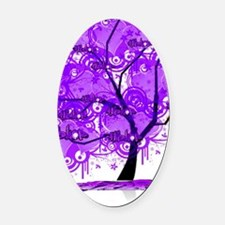Purple Tree Art Oval Car Magnet