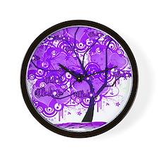 Purple Tree Art Wall Clock
