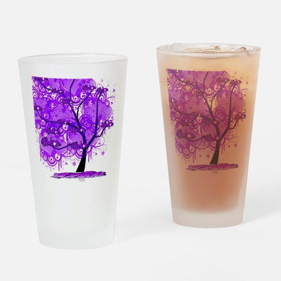 Purple Tree Art Drinking Glass
