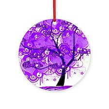 Purple Tree Art Round Ornament