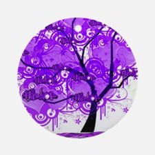Purple Tree Art Round Ornament