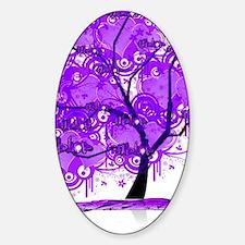 Purple Tree Art Sticker (Oval)