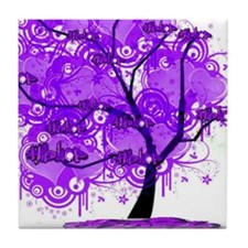 Purple Tree Art Tile Coaster