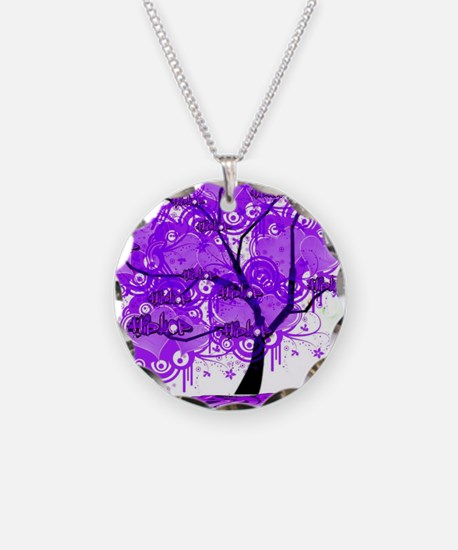Purple Tree Art Necklace