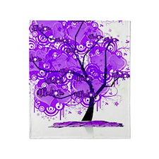 Purple Tree Art Throw Blanket