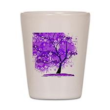 Purple Tree Art Shot Glass