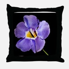Blue Macro Flower Throw Pillow
