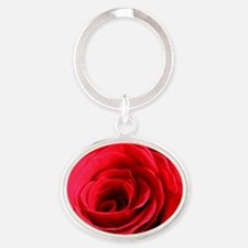 Red Rose Oval Keychain