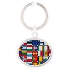 Many Flags Oval Keychain