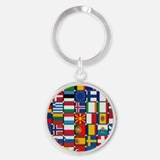 Many Flags Round Keychain