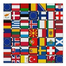 "Many Flags Square Car Magnet 3"" x 3"""