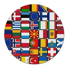 Many Flags Round Car Magnet