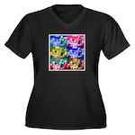 POKER DOGS Women's Plus Size V-Neck Dark T-Shirt
