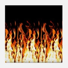 Flames Womens All Over Print T-Shirt Tile Coaster