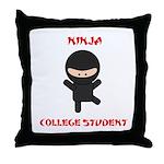Ninja College Student Throw Pillow