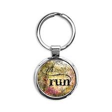 Run by Vetro Jewelry & Designs Round Keychain
