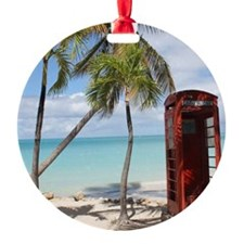 Red public Telephone Booth on Antig Ornament