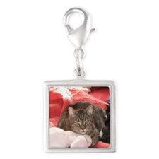 Valentine cat Silver Square Charm