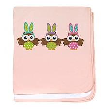 3 Easter bunny owls baby blanket
