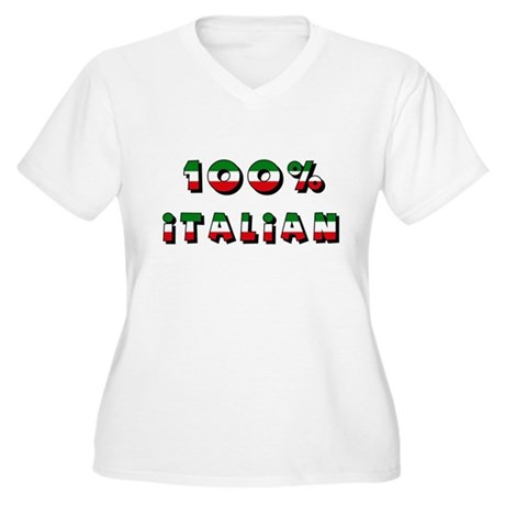 100% Italian Women's Plus Size V-Neck T-Shirt