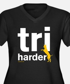 Tri Harder Women's Plus Size V-Neck Dark T-Shirt