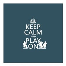 Keep Calm and Play On (strings) Square Car Magnet