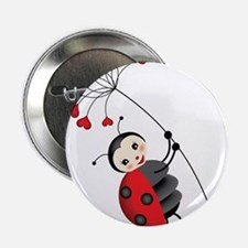 """ladybug with heart tree 2.25"""" Button"""