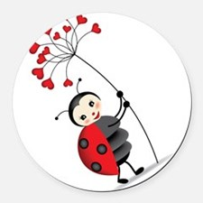 ladybug with heart tree Round Car Magnet