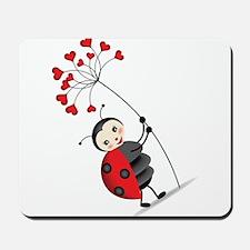 ladybug with heart tree Mousepad