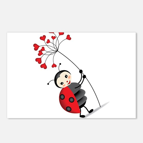 ladybug with heart tree Postcards (Package of 8)