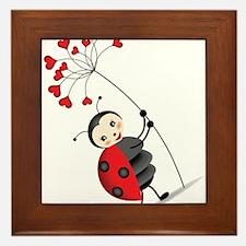 ladybug with heart tree Framed Tile